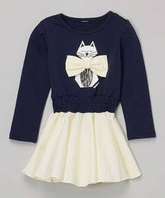 Look at this Navy & Cream Cat Bow Dress - Infant, Toddler & Girls on #zulily today!