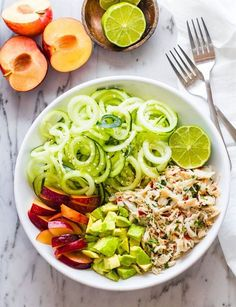 Healthy Asian Crab and Avocado Spiralized Cucumber Salad. Paleo Asian Crab with Avocado mixed with Spiralized Cucumber Salad! Perfect Protein Packed lunch!