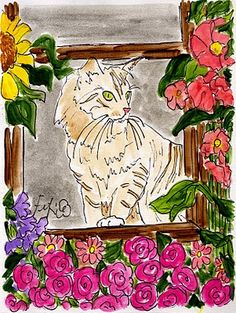 Fifi Flowers Painting du Jour Gallery: Le Chat in the Window