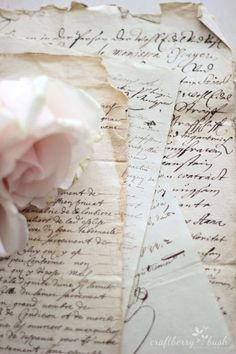 Romantic handwriting in old letters. Old Letters, French Script, Handwritten Letters, Cursive, Vintage Lettering, Lost Art, Jolie Photo, Letter Writing, Vintage Love