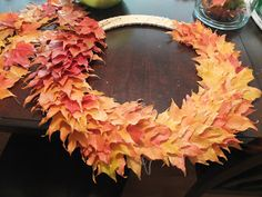 Wreath of leaves, previously dipped in liquid wax
