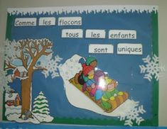 My high school students would totally get into making snowflakes and adding to a bulletin board with this saying French Bulletin Boards, Christmas Bulletin Boards, Winter Bulletin Boards, Classroom Bulletin Boards, Classroom Door, Classroom Ideas, French Classroom, Flipped Classroom, French Teacher