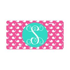 Pink Whales Monogrammed Car License Plate by 4FeelinFroggie on Etsy