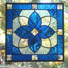 Cobalt Blue Star Beveled Stained Glass Window Panel