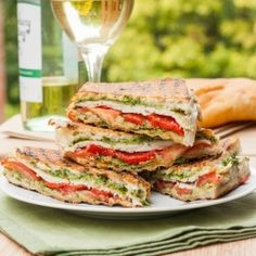Turkey, Pesto and Roasted Red Pepper panini - perfect for both lunch and dinner
