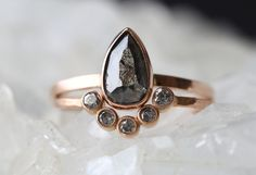 natural black diamond engagement ring + arc diamond wedding band :: Alexis Russell