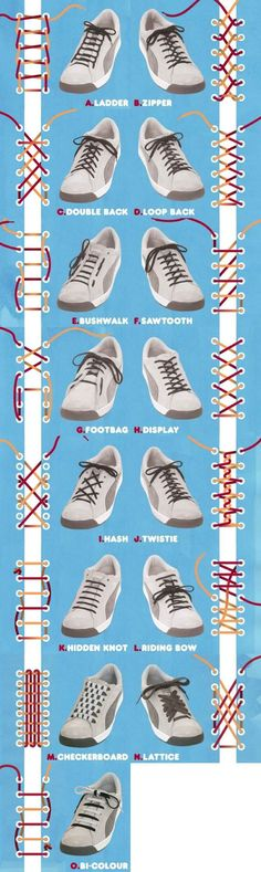 Who would have thought there were so many ways to lace up shoes? How to tie shoe laces! Who would have thought there were so many ways to lace up shoes? How to tie shoe laces! Tie Shoes, Your Shoes, Fancy Shoes, Fancy Pants, Men's Shoes, Shoes Sneakers, Diy Fashion, Mens Fashion, Fashion Tips