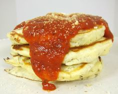 """Pizza Pancakes ♦ To make Pizza Pancakes, Steph of Plain Chicken uses typical pizza ingredients: cheese, tomato sauce, pepperoni, sausage, and mushrooms. It's her presentation that makes her savory """"pizzas"""" totally unique (recipe). ~ http://www.plainchicken.com/2011/05/pizza-pancakes.html"""