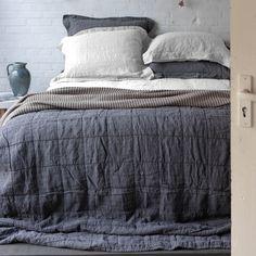 Couvre-lit plaid lin et coton anthracite ou poudre Nice