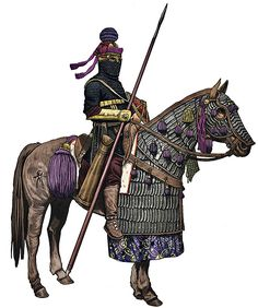 Clibanarius Sassanid, VII Century AD. Example of the type of Persian cavalryman who brought the Eastern Roman Empire to its knees under Chosroes, overrunning Syria, Palestine and Egypt by 617, and leading directly to the overthrow of the Roman Emperor Phocas by the African Exarch Heraclius.