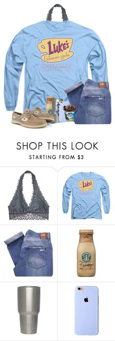 """Hi :)"" by katie-1111 ❤ liked on Polyvore featuring Victoria's Secret, Nobody Denim, Therapy and Sperry"