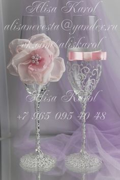 Wedding toasting flutes, wedding glasses, bride and groom, Mr and Mrs with pink hanmadeflower and bow