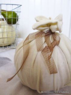 Make a pumpkin out of a sweater and  a ball.