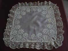 Vtg Lace Antique Val Lg Handmade Handkerchief French Whitework Embroidered 1830