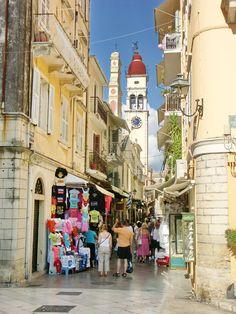 The narrow streets of Corfu, Greece