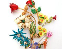 Enamel Flower Jewelry Lot Rhinestone Jewelry by underthenightmoon