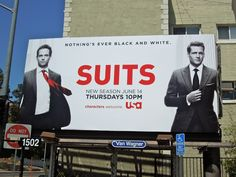 With a dash of red this fantastic mono billboard creative for the second season of Suits really does prove that nothing is ever simply bl. Suits Series, Suits Season, Orange City, Usa Network, City Of Angels, Great Movies, Movies Showing, Billboard, Tv Series