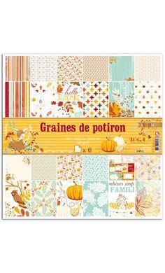 """Coloridos papeles """"Graines de Potiron"""" donde predomina el tono anaranjado de la calabaza, aunque también se pueden encontrar,  colores azulados, rojos, blancos, con multitud de motivos florales, simétricos etc…"""