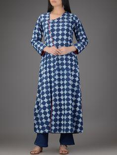 Indigo-Ivory Dabu-printed Cotton Kurta on Jaypore.com
