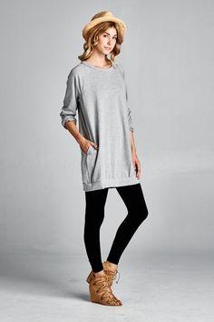 Grey Raglan Sweatshirt Dress