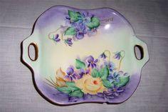 Royal Albert 2 Handle Handpainted Square Dish Violets Yellow Rose Nick to Rim