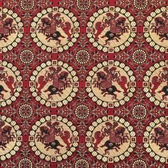 Oseberg Brocade, Red and Beige, 9th c. Japanese w/ Persian influence