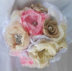 Fabric Flower Bridesmaid Bouquet Custom Brooch by AfternoonDelite, $90.00