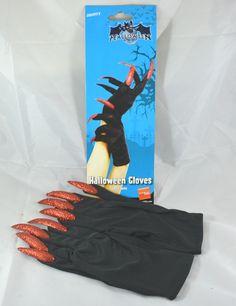 Guanti neri da strega, in tessuto, con unghie finte lunghe glitterate rosso. Accessorio di halloween o carnevale. Disponibile da C&C Creations Store