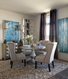 Dining Room | Metallic Silver Round Pedestal Dining Table, Linen Tufted Dining Chairs
