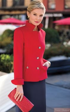Bright red jacket with large buttons. Fashion Line, Fashion Over 50, Look Fashion, Fashion Outfits, Womens Fashion, Fashion Trends, Office Outfits, Casual Outfits, Cute Outfits
