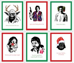 f973faa3ad Set of 6 Funny Illustrated Star Wars Christmas Cards on Etsy