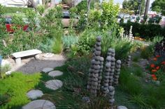 fabulous gardens | Fabulous and Harmonious Front Garden Design with Stone Bench and Stone ...