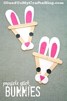Popsicle Stick Bunnies - Easter Themed Kid Craft Idea! Cute idea for spring or Easter speech therapy!