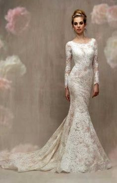 Wedding Dress by Allure Couture - Search our photo gallery for pictures of wedding dresses by Allure Couture. Find the perfect dress with recent Allure Couture photos. V Neck Wedding Dress, Classic Wedding Dress, Tea Length Wedding Dress, Sexy Wedding Dresses, Bohemian Wedding Dresses, Long Sleeve Wedding, Wedding Gowns, Modest Wedding, Spanish Lace Wedding Dress