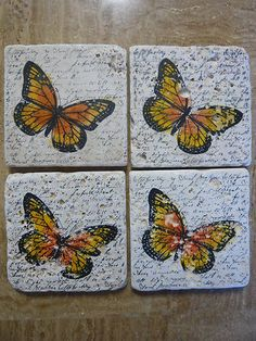 Travertine Stone Drink Coasters Tile Gift Monarch Butterfly Stampin Up Handmade | eBay