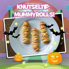 Jum! Deze mummyrolls van bladerdeeg en knakworstjes zijn griezelig leuk voor Halloween. #knutselen