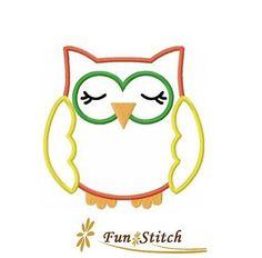 Sleeping owl applique machine embroidery design by FunStitch, $2.00