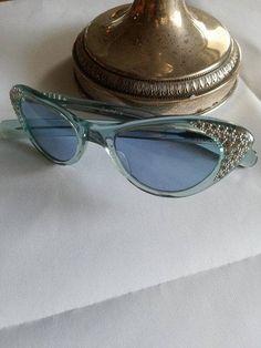 Cat Eye 1950s Design Original  Vintage Sunglasses Selecta France Women Retro Blue can be Converted into Prescription Glasses by XclsvStudio on Etsy