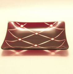 Chance glass Ruby Quilt intaglio rectangular dish