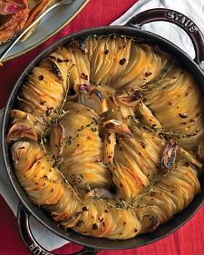 Crispy Potato Roast - Martha Stewart Recipes (I'd skip the butter) Potato Dishes, Potato Recipes, Food Dishes, Side Dishes, Vegetable Recipes, Potato Food, Chicken Recipes, Roast Recipes, Side Dish Recipes