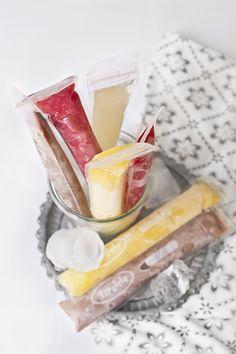 raspberry, lemon, orange and cocoa ice pops