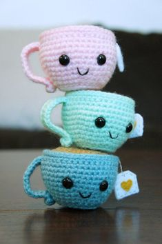 PDF Crochet Amigurumi Pattern – Teeny the Teacup PDF Amigurumi Häkelanleitung – Teeny die Teetasse Crochet Kawaii, Crochet Food, Crochet Gifts, Cute Crochet, Knit Crochet, Crochet Slippers, Mobiles En Crochet, Crochet Mobile, Crochet Patterns Amigurumi