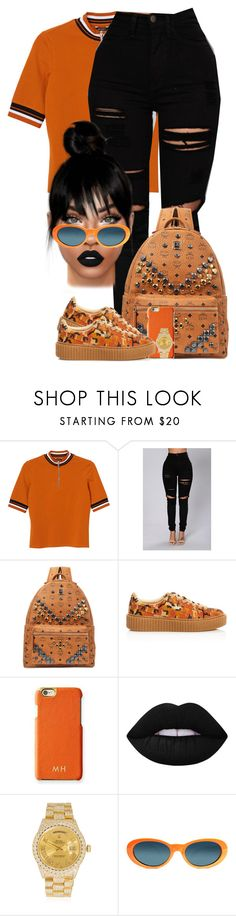 """Kontrol"" by chiamaka-ikaraoha ❤ liked on Polyvore featuring Monki, MCM, Puma, Mark & Graham, Lime Crime, Rolex and Versace"