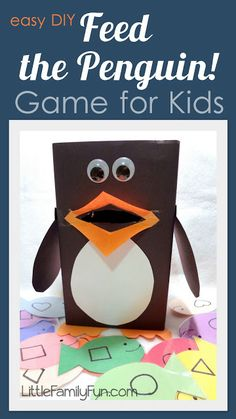 "Feed the penguin! Fun DIY preschool game. - could have cards that say ""Fred the penguin only eats circle fish"" or ""Harvey the penguin only eats square fish"" also could do with letters ""Patty only eats vowels"" etc"