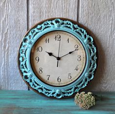 Want!  Ornate Distressed Wall Clock -  Aqua Shabby Chic - French Country Wall Decor - Hollywood Regency - Home Decor - SALE. $29.00, via Etsy.