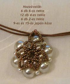 Rozetta minta;  free photo tutorial;  pearls:  6mm, 4mm, 2mm; 15's Beading Patterns Free, Beaded Jewelry Patterns, Jewelry Making Tutorials, Beading Tutorials, Bead Jewellery, Pendant Jewelry, Pearl Pendant, How To Make Beads, Beaded Earrings