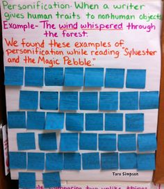 personification poem and other writing worksheets language arts  personification anchor chart sticky notes using the magic pebble