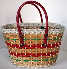 Panier de Marché - Scoubidou Vert, Rouge et Blanc sur Osier - Années 50-60