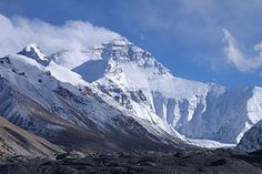 A view of Mount Everest from the Tibetan base camp