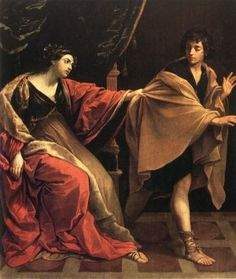 "Joseph Flees Potiphar's Wife.    BIBLE SCRIPTURE: Genesis 39:12, ""And she caught him by his garment, saying, Lie with me: and he left his garment in her hand, and fled, and got him out."""